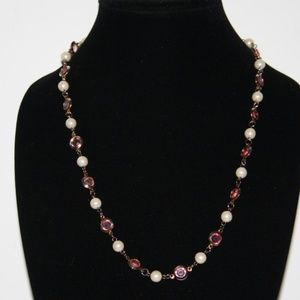 Vintage gold pearl and pink stone necklace
